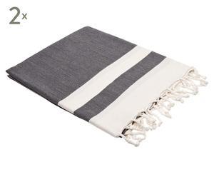 Set van 2 handgeweven Pestemal hammamhanddoeken Juliet, zwart/wit, 100 x 190 cm