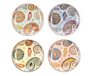 Handgeschilderde keramieken borden PAISLEY, 4-delig,