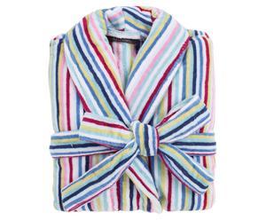 Badjas Stripy, wit/blauw/roze/geel, maat XL