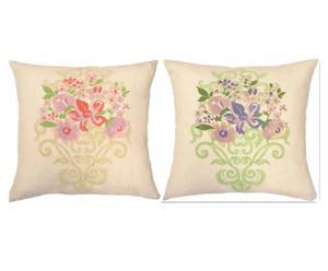 Kussen-Set FLOWER ART, 2-delig, wit/pink, 45 x 45 cm