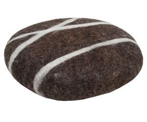 Handgevilt kussen Sirani Stone, bruin/wit, diameter 25 cm