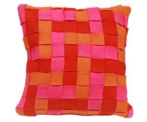 Handgevilte kussenhoes Bunnu Mix Rood, 70 x 70 cm