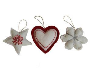 Handgevilte kerstversiering Ornaments, 3-delig