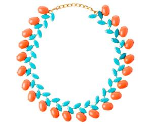 Ketting CORAL, verguld, turquoise/koraalkleurig