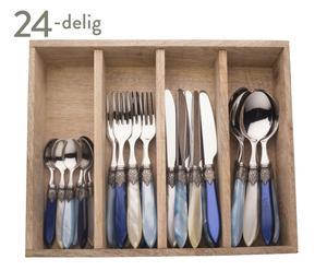 Bestekset Murano, 24-delig, blauw/turquoise/creme