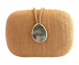 Handgemaakte clutch Adeline met parelmoer, beige