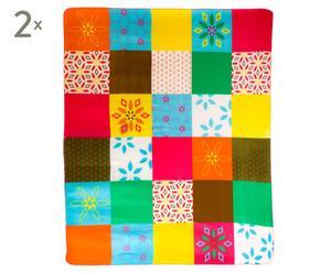 Set van 2 patchwork dekens Padmini, 150 x 180 cm