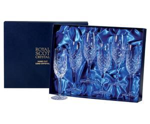 Set van 6 champagneglazen London, kristalglas