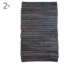Set van 2 voddentapijten Tras, zwart, 70 x 120 cm