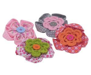 Haarelastiekjes Flowers, 4-delig