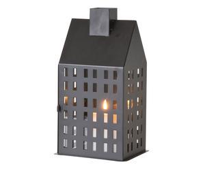 Windlicht House, zwart, H 27 cm