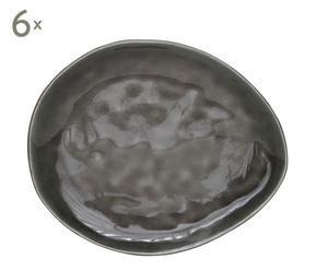 Dessertborden Laguna Grey, porselein, 6 stuks, Lengte 20 cm