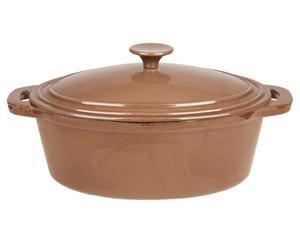 Gietijzeren braadpan Bergerac met deksel, bruin, L 28 cm