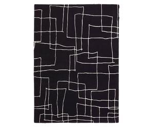 Handgeknoopt tapijt Kodari, zwart/ecru, 140 x 300 cm