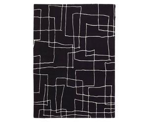 Handgeknoopt tapijt Kodari, zwart/ecru, 170 x 240 cm