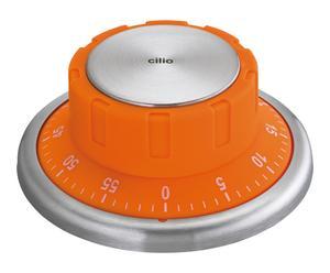 Kookwekker Magnet, oranje/RVS, diameter 10 cm