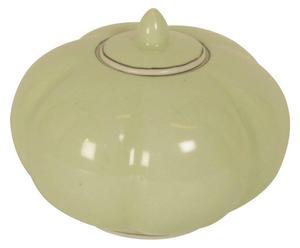 Kom/vaas van keramiek Pamela, met deksel, lichtgroen, H 10 cm