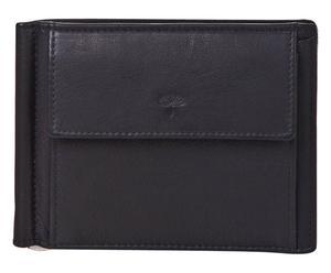 Leren portemonnee Layton met clip, zwart, B 13 cm