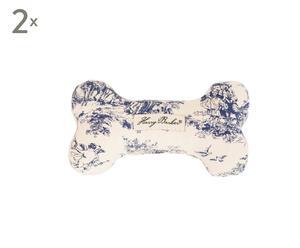 Hondenspeelgoed Bone, 2 stuks, Wit/Blauw, L 18 cm