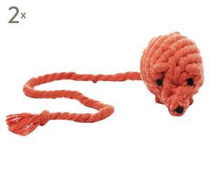 Speelgoedmuis Otila, 2 stuks, Oranje, L 21 cm