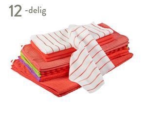 Schoonmaakdoeken-set Florence, 12-delig, rood