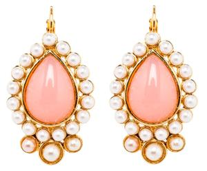 Vergulde oorbellen Zuleika, roze/wit