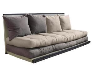 Multifunctionele futon-bank Chico, creme/grijs, 160 x 200 cm