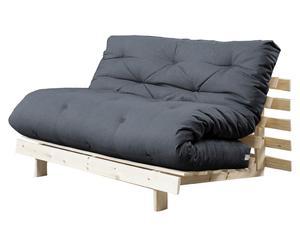 Multifunctionele futon-bank Roots, uitklapbaar, naturel/grijs