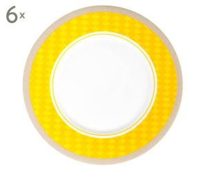 Dinerbord Arena, geel, 6 stuks