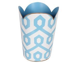Prullenbak Madison, blauw/wit, diameter 22 cm