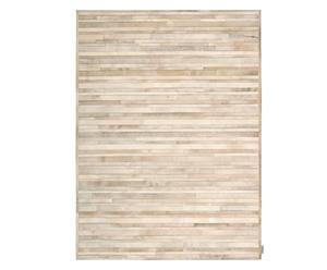 Handgestikt patchwork tapijt Vio, beige, 168 x 226 cm