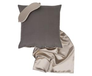 Beauty-Set Queen Silk, 3-delig, taupe/modder, 50 x 50 cm