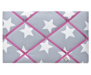 Memobord Little, grijsblauw/wit/pink, 30x50 cm