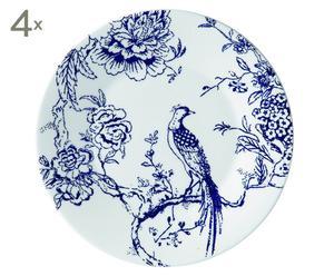 Fine Bone China Voorgerecht-borden Chinoiserie Blue, 4 stuks