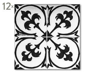 Tegelversiering Abey, zwart/wit, 12 stuks, 15 x 15 cm