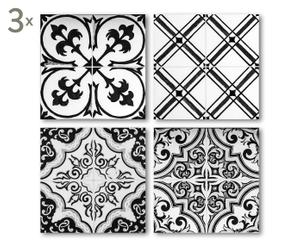 Tegelversiering Kimi, zwart/wit, 12 stuks, 15 x 15 cm