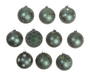 Set van 10 kerstballen Linnae, groen, Ø 8 cm