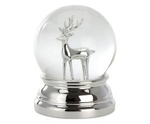 Verzilverde sneeuwbol Will, zilver/transparant, H 10 cm