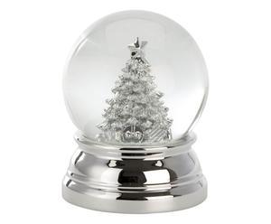 Verzilverde sneeuwbol Tree, zilver/transparant, H 10 cm