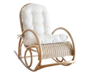 Handgemaakte schommelstoel Lori, zonder zitkussen, beige, B 60 cm