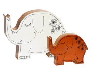 Set van 2 decoratieve olifanten Sharmila, bruin/wit