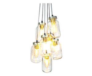 Set van 7 handgemaakte hanglampen JamJar, grijs, diameter 20 cm