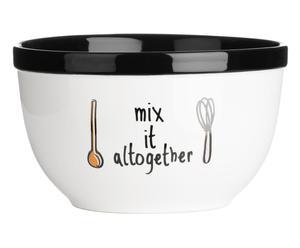 Beslagkom Doodle Mix, zwart/wit, diameter 19 cm
