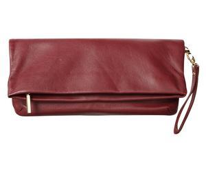 Leren clutch Fold Over, wijnrood, L 28 cm