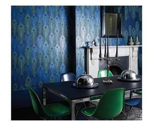 Papier behang Peacock, blauw/zwart/groen, L 10 m