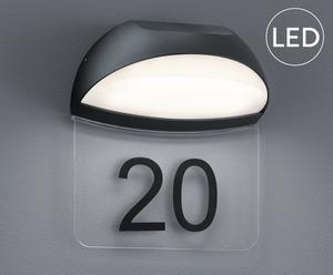 LED-wandlamp met huisnummer Mickeline, antraciet, B 19 cm
