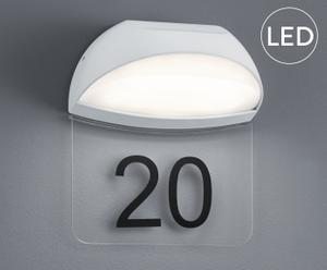 LED-wandlamp met huisnummer Mickeline, wit, B 19 cm