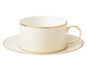 Bone China-Teetasse Arris mit Untertasse, Ø 16 cm