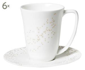Handgemaakte theekopjes met schotel Lys, wit/goud, 6 stuks