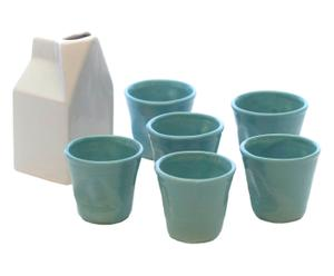 Caffe Macchiatoset Lattiera, blauw, 7-delig